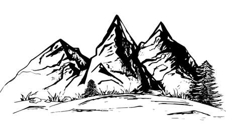 landscape, mountain silhouette, freehand drawing, vector black and white illustration on a white background