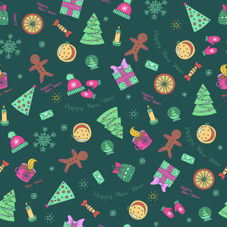 Icons set Christmas and New year seamless pattern-vector illustration. colored icons on a new year theme on a green background