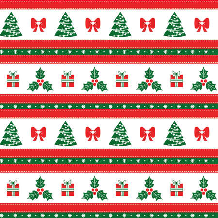 Christmas seamless pattern with Holly, Christmas tree, gift, with horizontal stripes. Seamless Christmas border