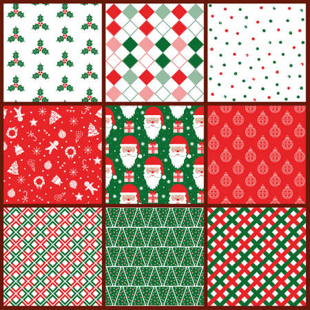 Seamless Christmas vector Pattern Tile Collection. with Santa and gifts, rhombus, snowflakes. The red-and-green design
