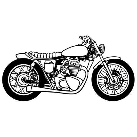 Vector motorcycle icon, hand drawing, black on white background, isolated. Silhouette of motorcycle. Vector Illustration