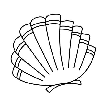 One single line drawing of beauty scallop for Chinese restaurant logo identity. vector illustration. Seashell mascot concept for fresh seafood icon. Logos