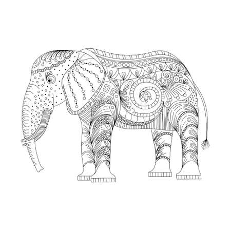 Elephant coloring page graceful and exquisite style. vector illustration, on a white background. coloring page for adults and children