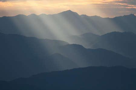 Sunbeam over mountain