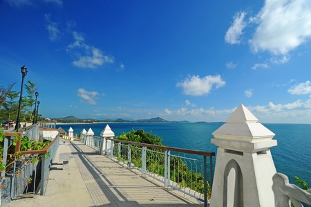 Walkway beside sea, View point at Samui Island, Thailand  Stock Photo