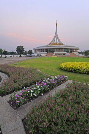 Rama 9 public park with flowers as background on twilight, Bangkok, Thailand