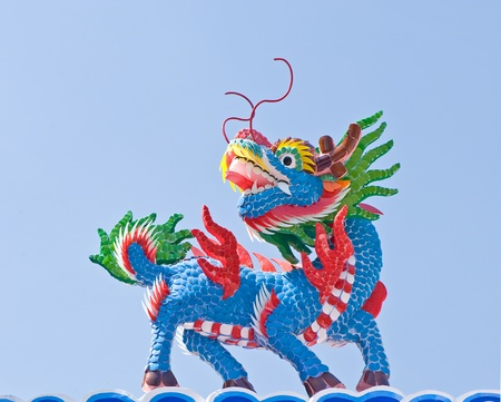 Chinese style dragon statue with blue sky