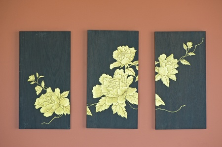 Golden flower painting on wood