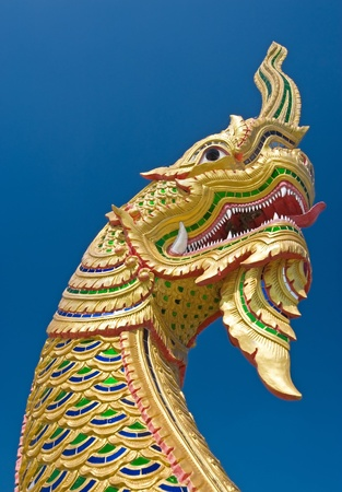 King of naga with blue sky  Stock Photo