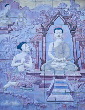 Brick wall decorate about Buddha s biography in temple wall at Chiang Mai, thailand  photo