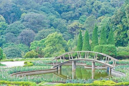 Bridge in flower garden photo