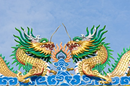 Chinese style dragon statue with blue sky  photo