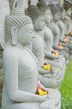 Group of buddha statue with flower Stock Photo - 13425607