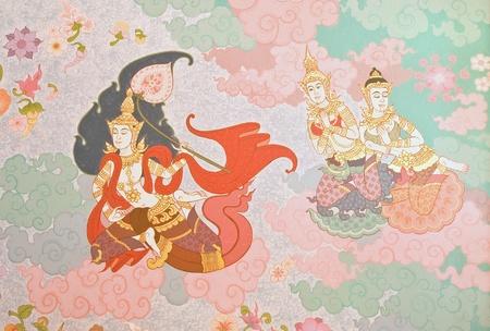 Thai temple murals  Editorial