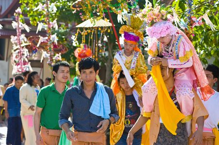 poi: SAMUTSAKORN, THAILAND-APRIL 8  Poi Sang Long festival, a ceremony where boys become novice monk, during in parade around township on April 8, 2012 in Samutsakorn, Thailand