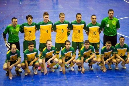SUPHANBURI - MAY 18 : Thailand vs Australia, Friendly Match, Australian players take photo before match on MAY 18, 2012 in Suphanburi, Thailand. Editorial
