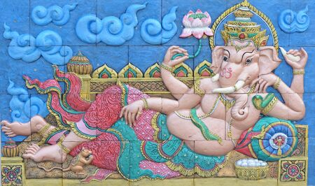 Ganesha on temple wall  photo