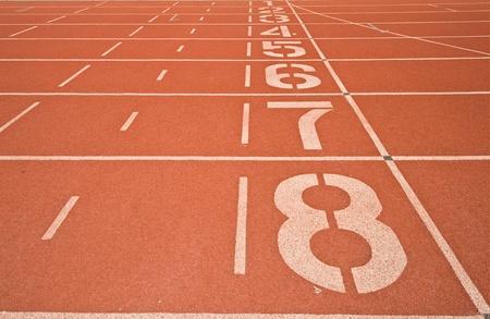Athletics Track Lane Numbers Stock Photo