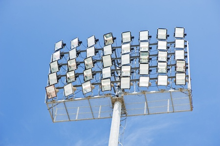 Sport light in soccer stadium photo