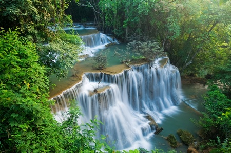 Huay mae kamin waterfall in Sri nakarin dam national park, Thailand Stock Photo