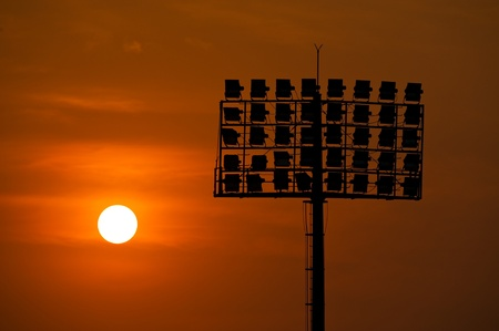 Sport light in soccer stadium with sunset Stock Photo - 18047337