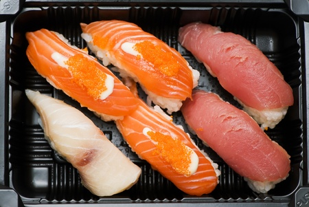 Japanese sushi seafood isolated on white background Stock Photo - 18208614