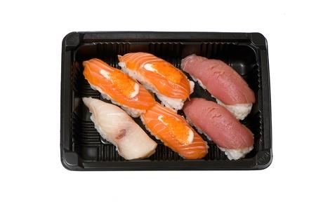 Japanese sushi seafood isolated on white background Stock Photo - 18208609