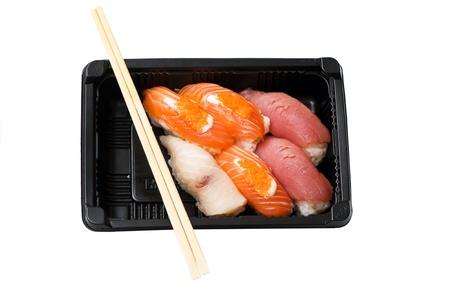 Japanese sushi seafood isolated on white background Stock Photo - 18424390
