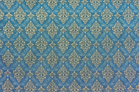 Traditional blue Thai fabric pattern as background Stock Photo