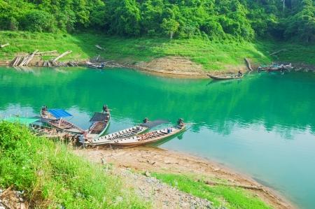 Long boat in Chiao Lan Lake at Khao Sok National Park, Thailand