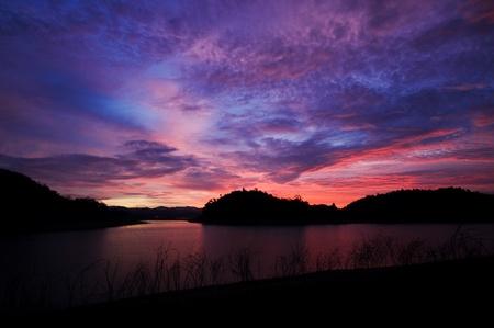 Sunset in Kangkrajan dam