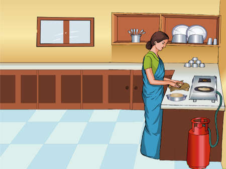 Indian Woman work on Kitchen 일러스트