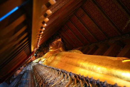 wat pho: Reclining Buddha in Wat Pho Stock Photo