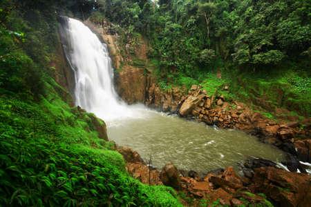 range of motion: Big waterfall in rainforest Stock Photo