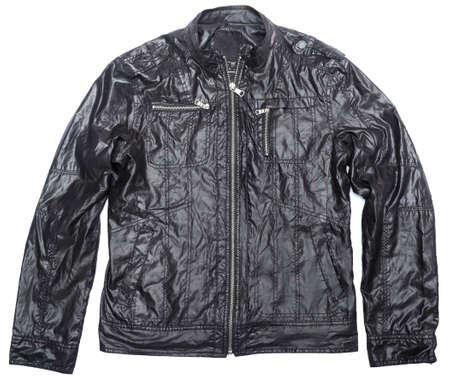 chaqueta de cuero: chaqueta de cuero negro con cierre completo Foto de archivo