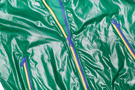 waterproof: green windbreaker waterproof  jacket full zip Stock Photo