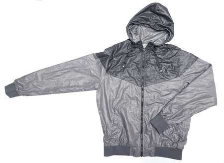 waterproof: grey windbreaker waterproof hoodie jacket full zip Stock Photo