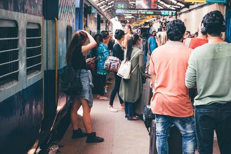 Professional video advertising, video shooting scene at Vasco da Gama railway station, Goa, India.