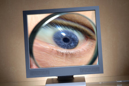 Eye with a magnifier in a monitor