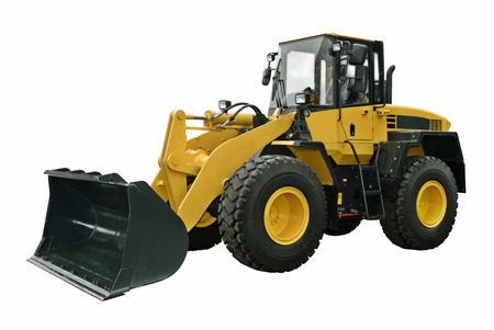 wheel loader: Yellow wheel loader Stock Photo