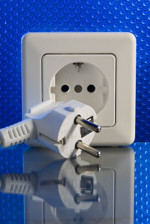 power suppliers: Plug and socket Stock Photo