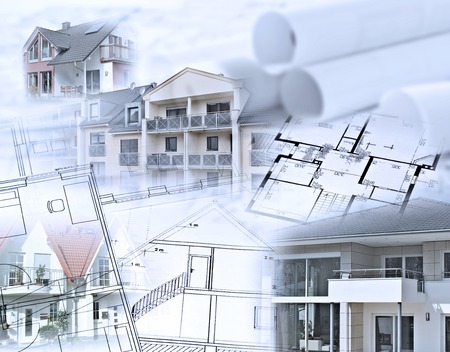 composing: Composing with real estate and blueprints Stock Photo