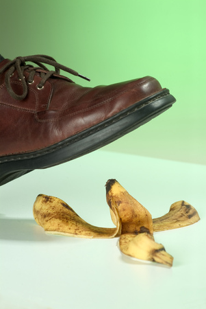 occurs: Foot occurs a banana peel