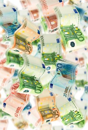 self indulgence: A picture full of fluttering euro notes  Stock Photo