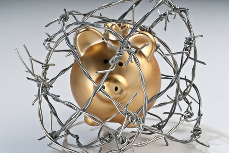 pensions: Golden piggy bank secured with barbed wire Stock Photo