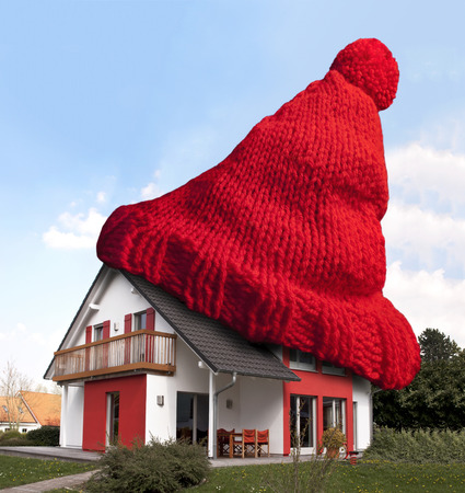 House wearing red woolen hat for keeping warm  Stockfoto