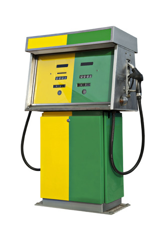fuel pump: Old gas pump in the colors yellow and green