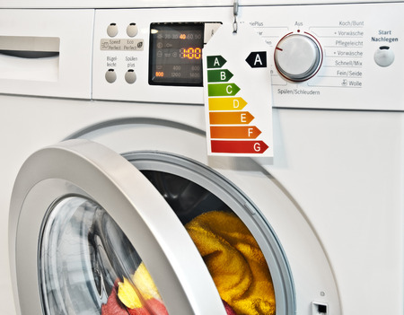 Modern washing machine with energy efficiency label  photo