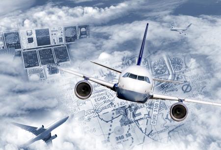 Composing illustrates the modern air traffic  Stockfoto
