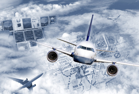 Composing illustrates the modern air traffic  Stock Photo